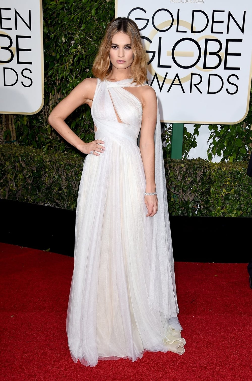 Lily James in Marchesa.