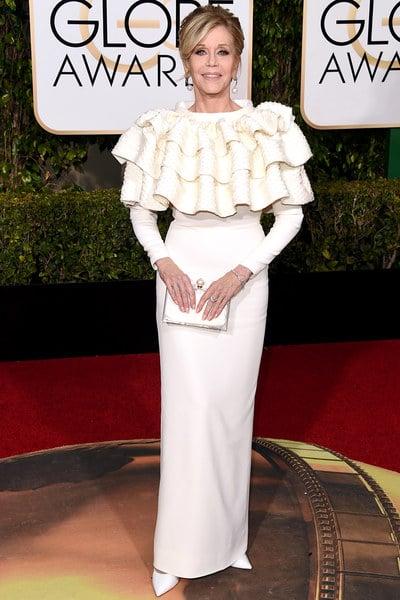 Jane Fonda in custom Saint Laurent.