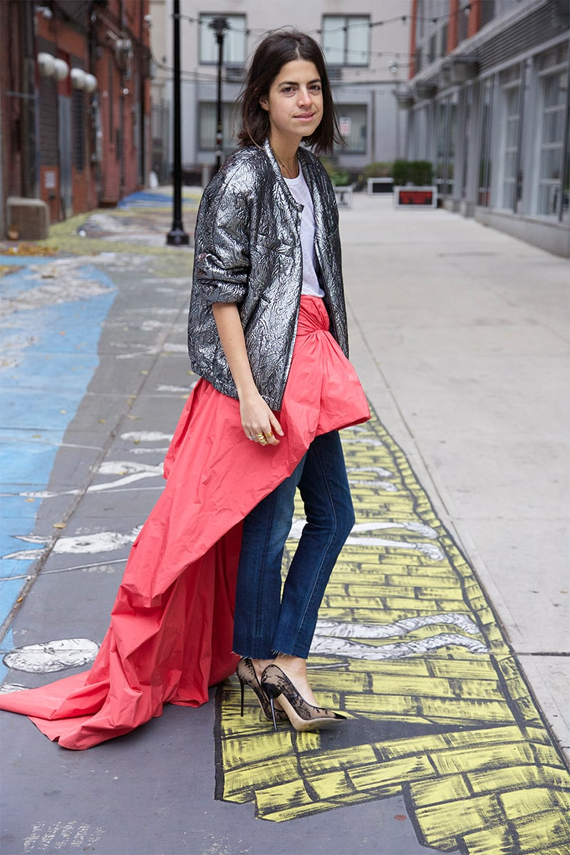 Sequin + denim + ball skirt? YES! / Image via  Man Repeller