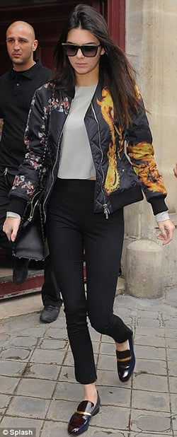 The basic black bomber gets a facelift with a flamethrower print, courtesy of Givenchy! / Via  Celeb Style US