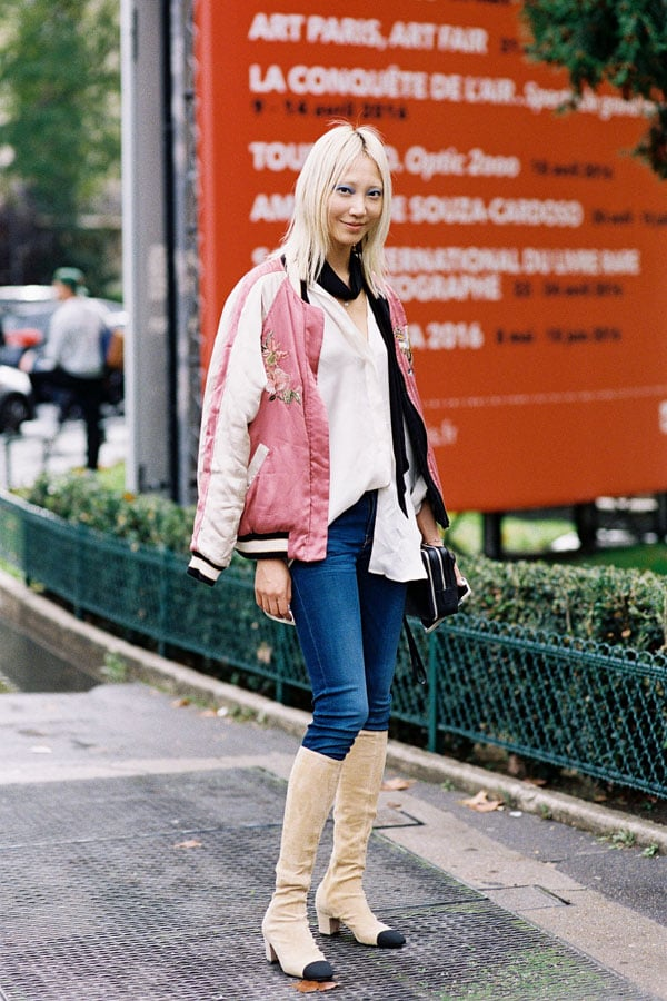 A pink bomber with Chanel knee-high suede boots is the only #goals I really care about / Image via Vanessa Jackman.