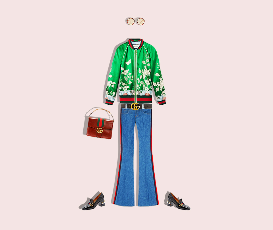 Gucci outfit - green bomber, jeans.jpg