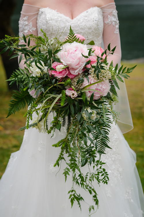 Cascading Rustic bridal bouquet by Vancouver florist Floral Design by Lili  , Image by Marla Jenkins Photography