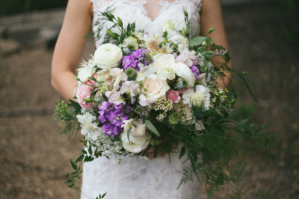 Summer rustic wedding bouquet by Fraser Valley wedding florist Floral design by Lili, Image by Tegan McMartin Photography