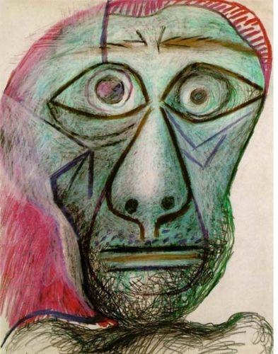 Picasso,  Autorretrato , 1972 (cera sobre papel)