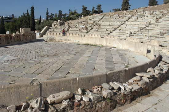 Teatro de Dioniso,Acrópole de Atenas, onde Eurípides encenou várias tragédias.