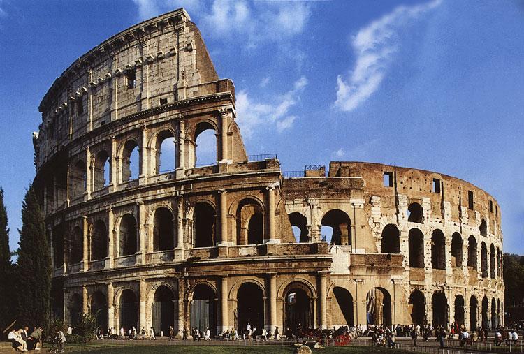 Roma, coliseu. Pão e circo (o que envolveu, não só mas também,cristãos dados aos leões como petisco).