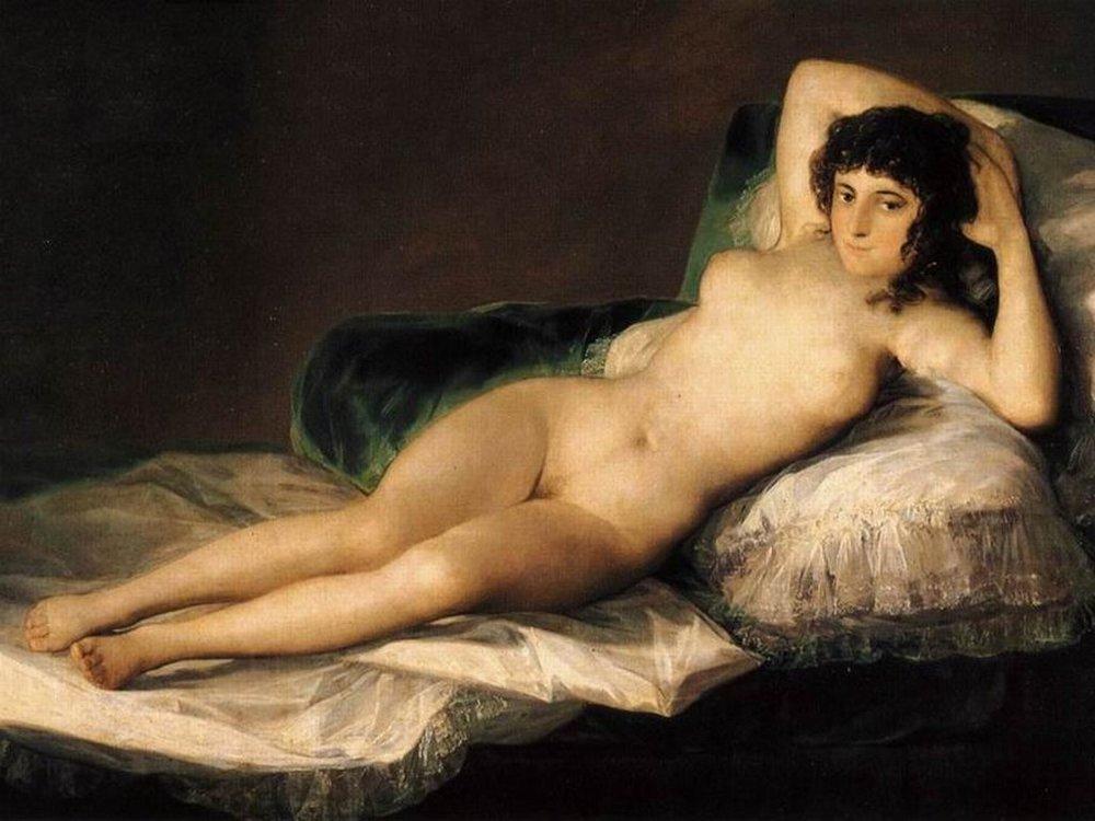 A Maja Desnuda de Goya, c. 1870/80, inaugura os nus femininos reais, foi uma das primeiras vezes em que o púbis aparece retratado, ao mesmo tempo que o olhar da personagem nos confronta e nos desarma, obrigando-nos a vê-la como um ser histórico em vez de mitológico. Note-se, todavia, que o seio direito está fora do lugar, desafiando claramente as leis da gravidade. Goya sacrificou o realismo da anatomia à, creio, erotização da personagem, o que comprova o fascínio do masculino por esses órgãos que servem a vida.