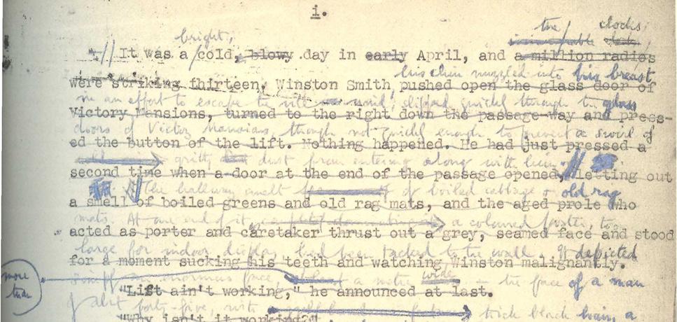 O  1984  de George Orwell em processo de revisão