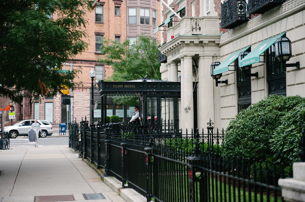 'The Eliot Hotel' - our home in Boston. How cute is our doorman, Frank!?