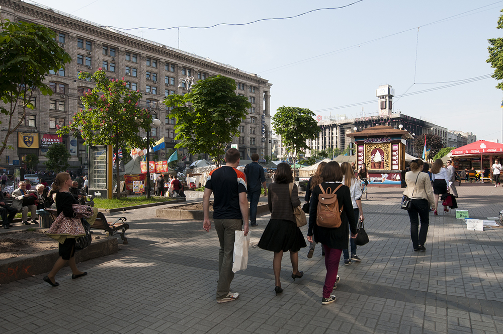 Pedestrian walking on Maidan Square