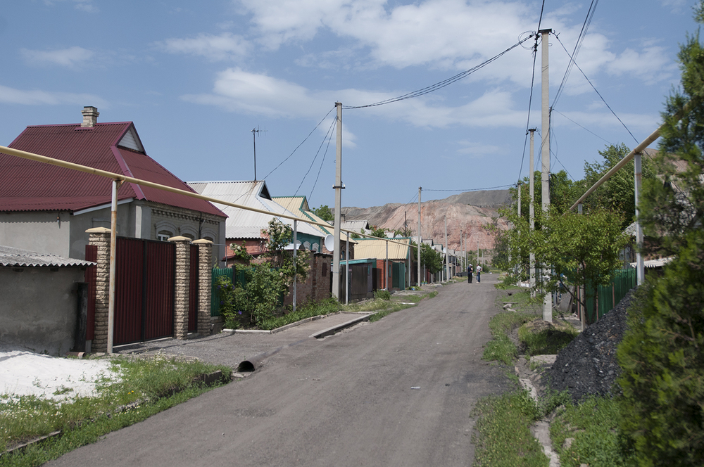 Two men in a small miner's village South-Est  from Donetsk