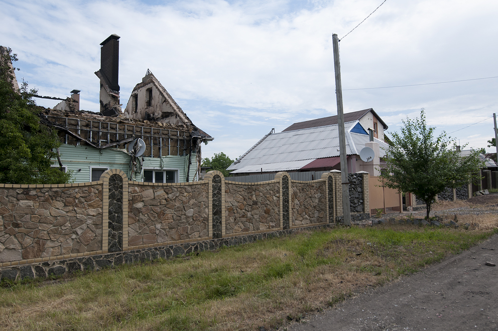 Bombed house located between the Sergey Prokofiev Airport and the Train Station