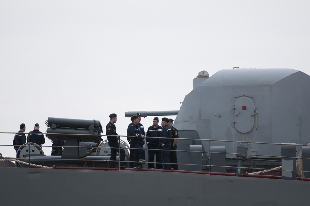 Russian sailors on the Smolny's deck