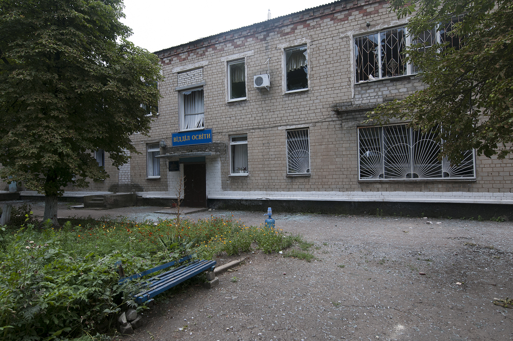 Entrance of a building which got hit between the 11 and 12 of July