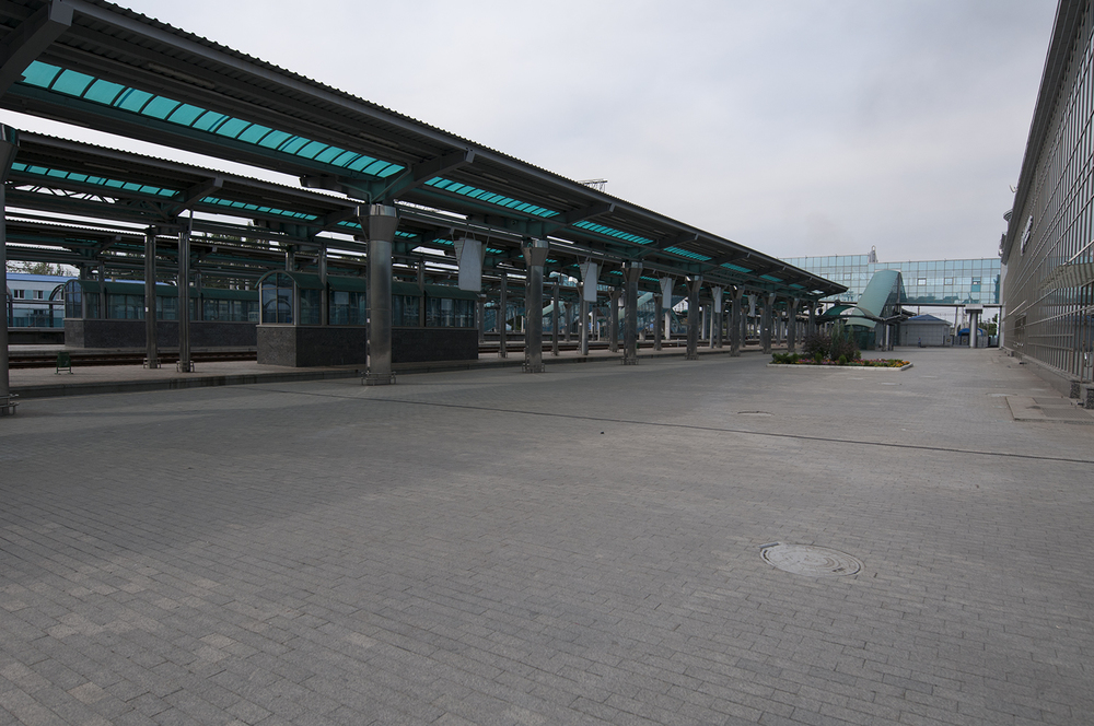The empty train station on ground level