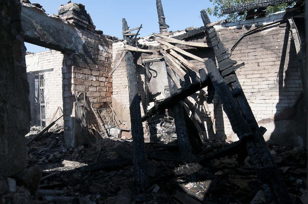 Remains of a private house located between the train startion and Donetsk aripoprt which havebeen  struck by a GRAD missile - 29th July