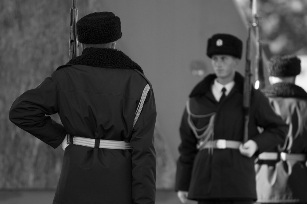 Soldiers acknowledge their replacement during the changing of the guard