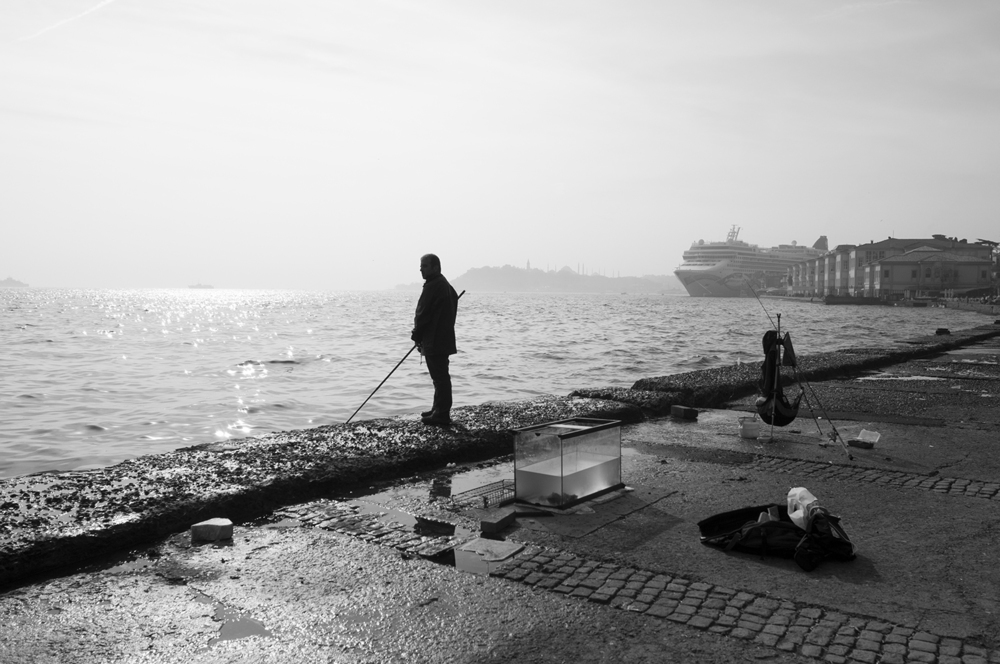 A Man fishing in the  Bosphorus