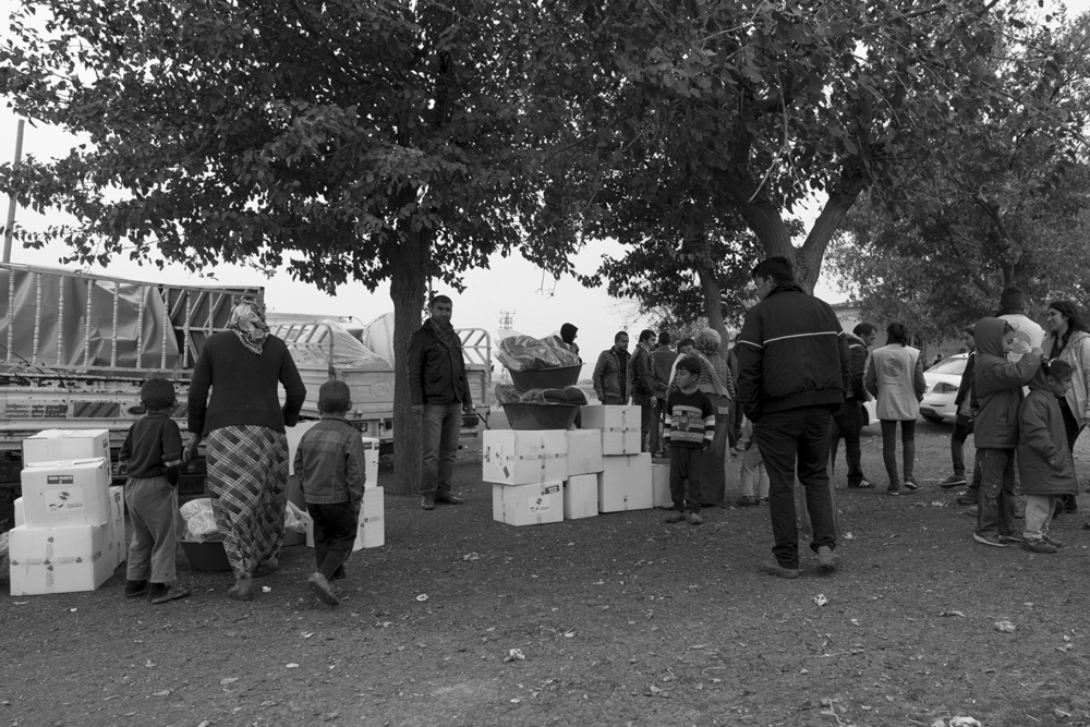Relief package delivered to Syrian refugees on the outskirt of Suruç located a few kilometers away from their native country.