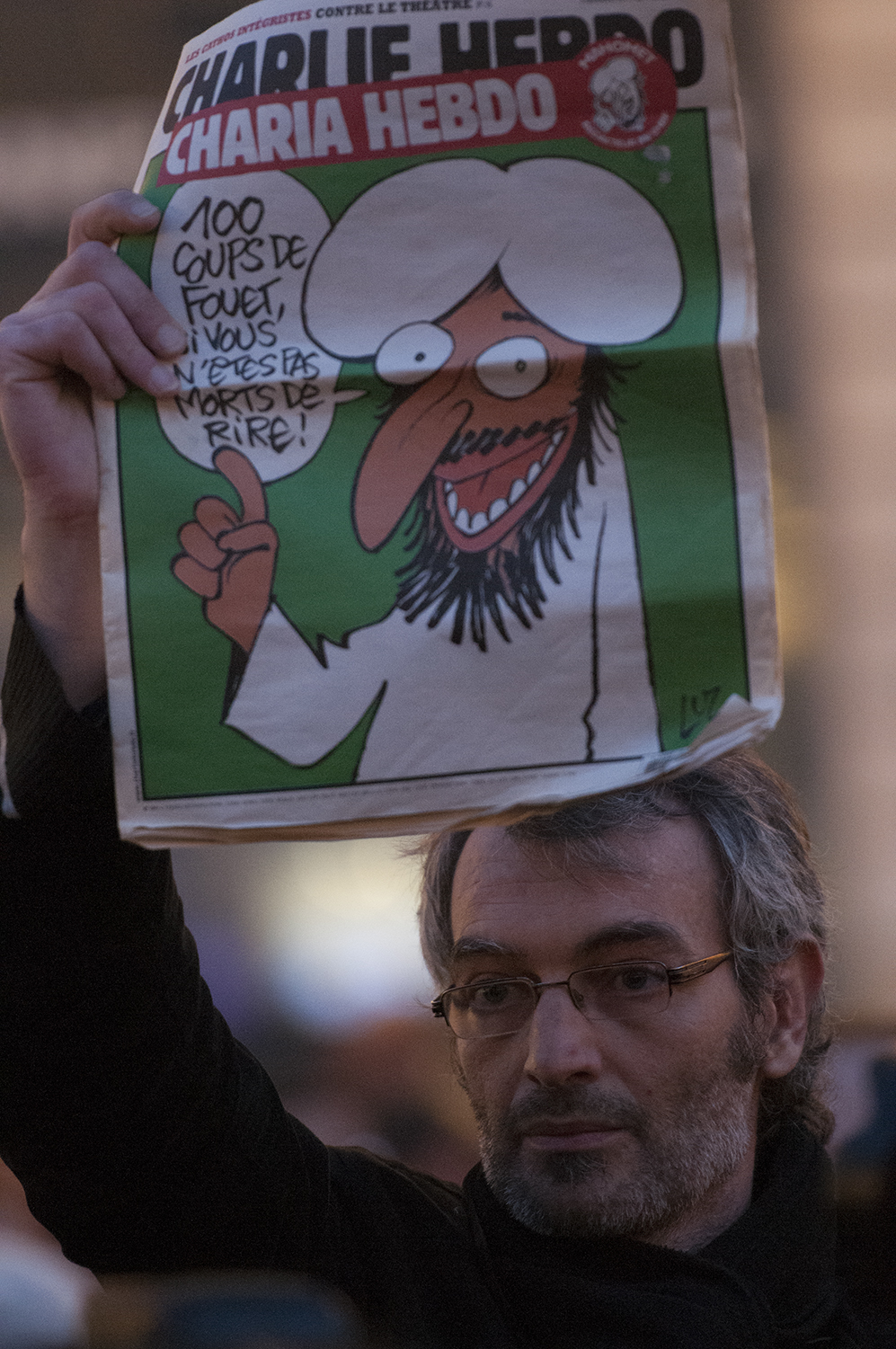 "Front page of Charlie Hebdo ""100 lashes, if you are not dying of laughter"""