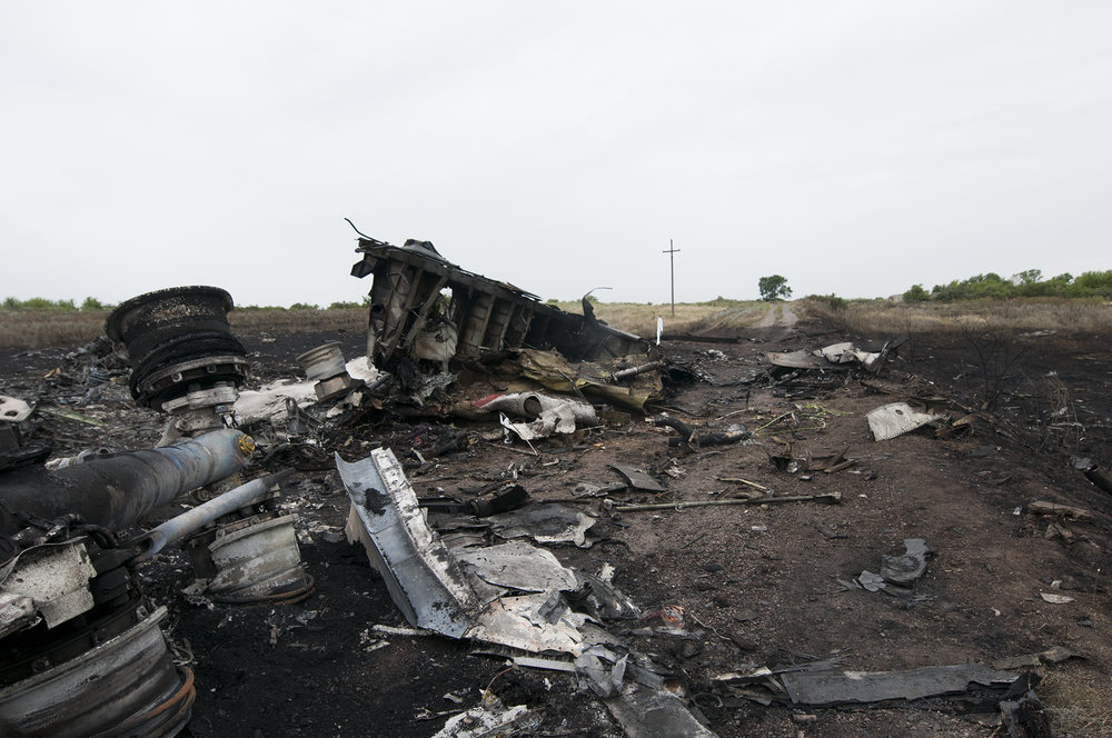 Malaysia Airlines MH17 crash site the day after it was shot down