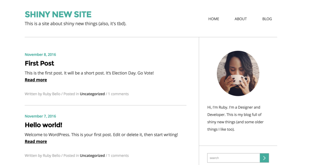 Screenshot of the Blog page.