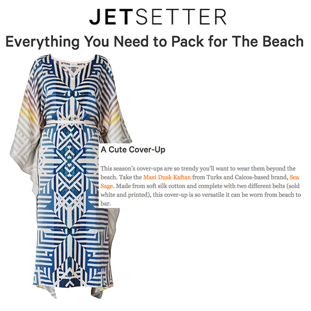heading to the beach?  Jetsetter included the dusk kaftan on their list for seaside essentials to maximize your fun in the sun!