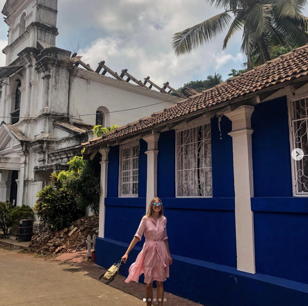 • exploring goa's latin quarter, rich in portuguese influence - fontainhas - panjim - india •