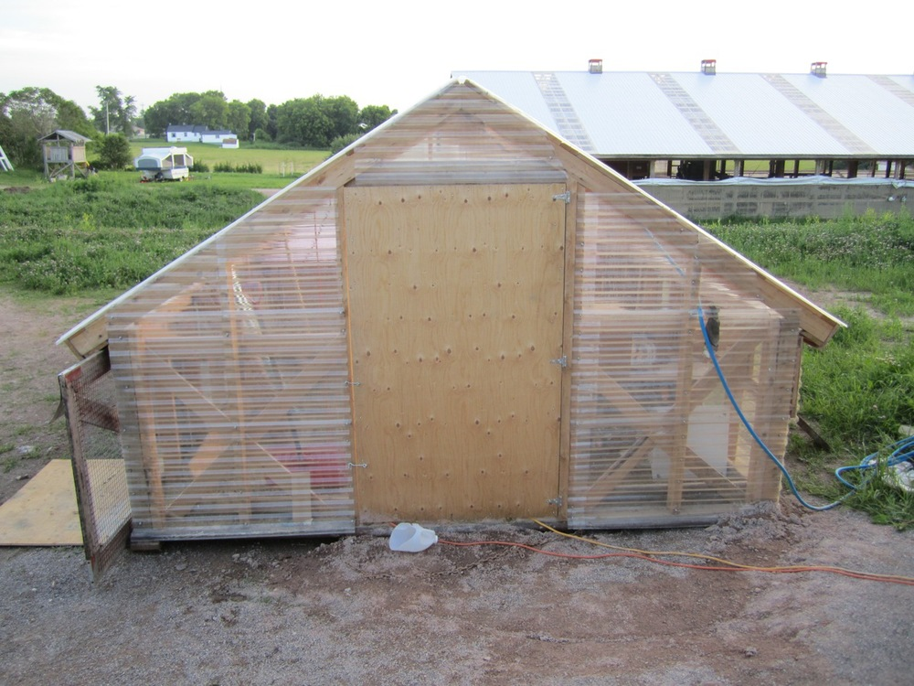 Brooder hut front view