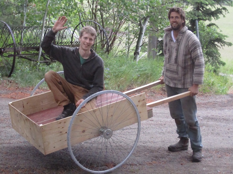 Jordan and Mike pose with the new cart