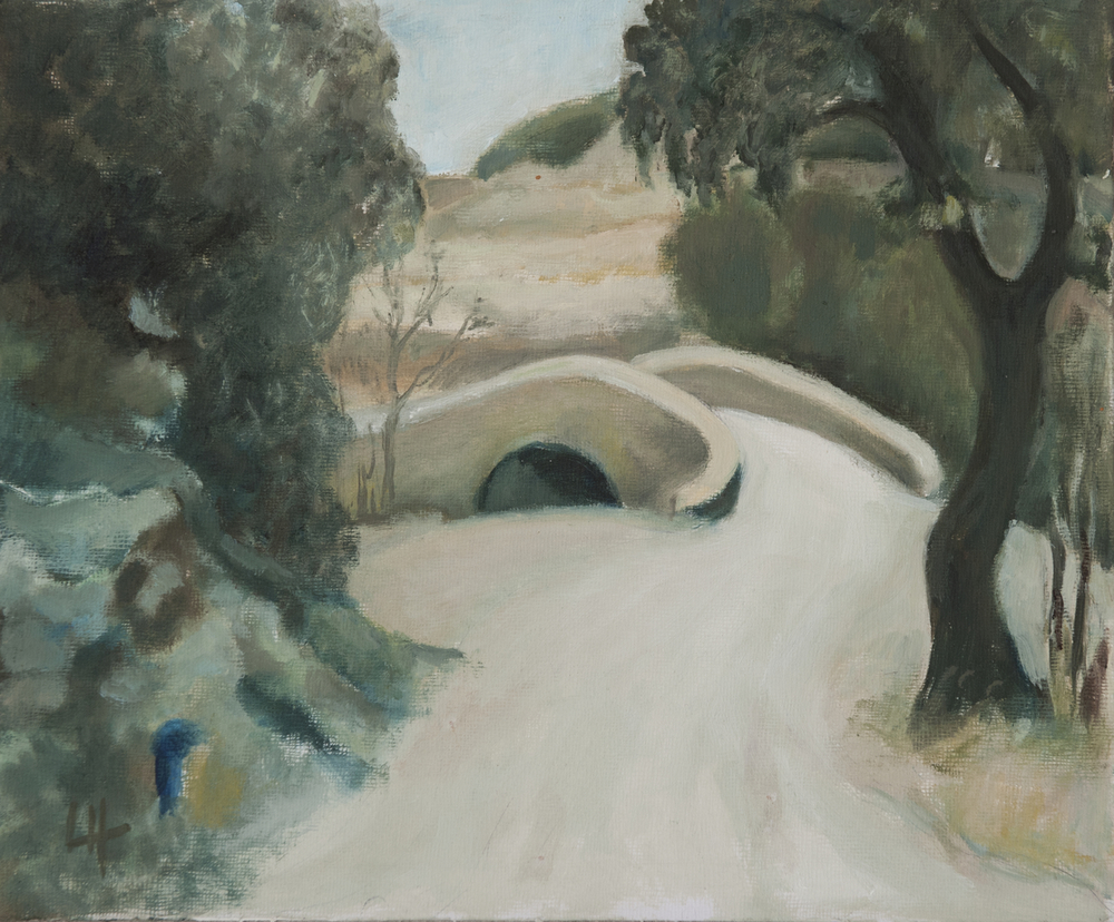 Bridge to Cessous [31x36cm] oil on board  Laura Hudson 2011 SOLD.jpg