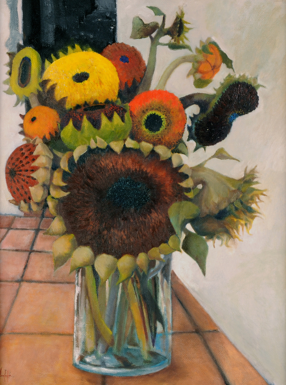 Giant Sunflowers  [50x60cm] oil on board 2012  SOLD