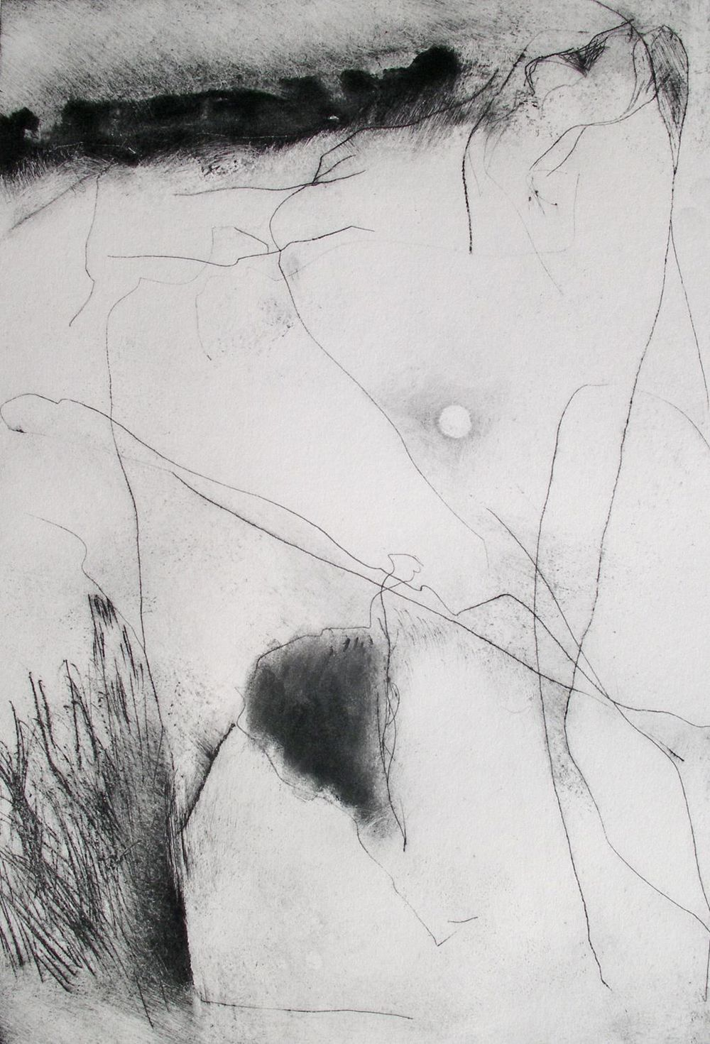 Dartmoor II [29x23cm] dry point + carbon, 2013