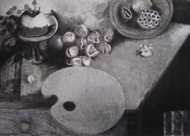 Studio Table biro carbon graphite frottage on paper, [84x60cm] 2013