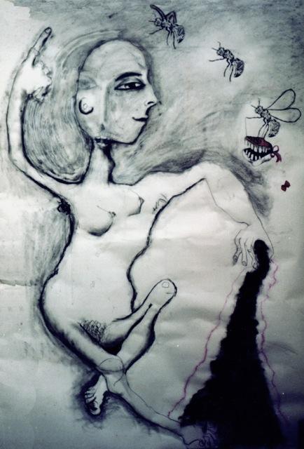 Distraction, charcoal, human hair, collage.