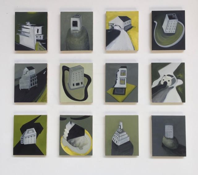 Nail House Grid [12 x 25x30cm paintings] 130x110cm, 2018