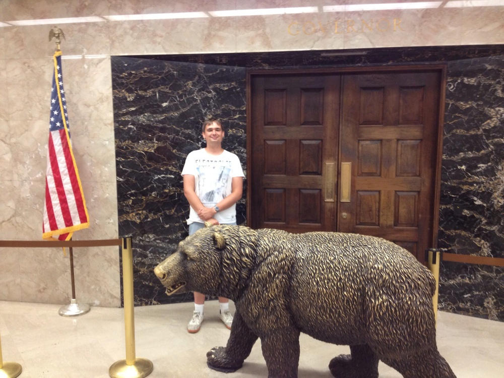 Me and a bear outside the Governor's office