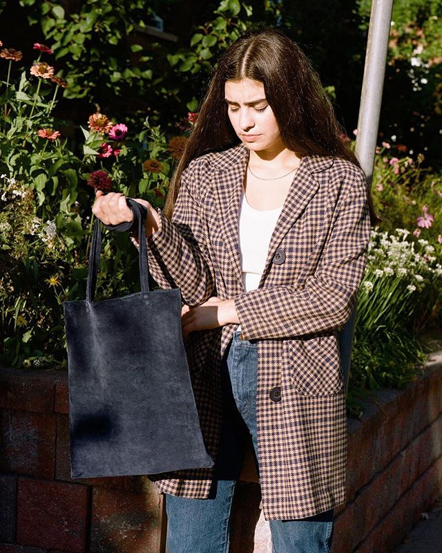 Fall dressing with the Navy Suede Shopper Tote. Available online now