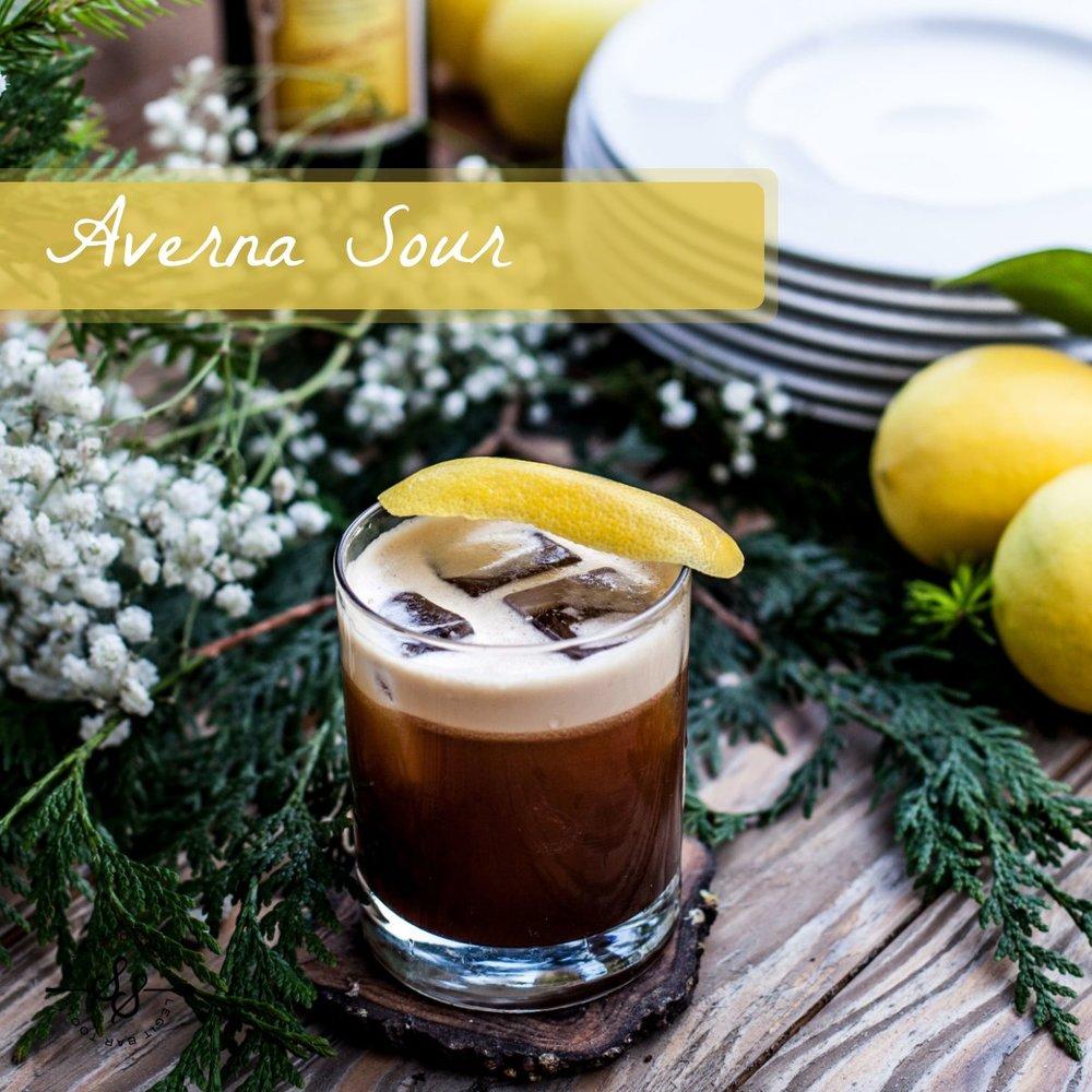 Averna Sour Cocktail   Bourbon • Amaro • Lemon • Egg White