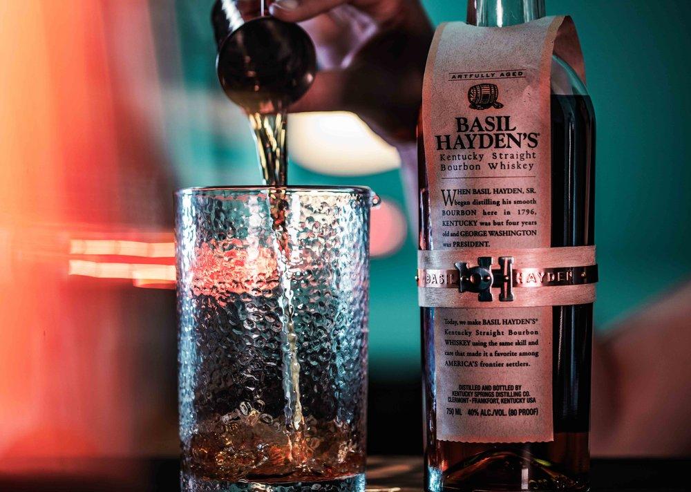 Basil Hayden's Bourbon with Standard Spoon Barware Hammered Mixing Glass