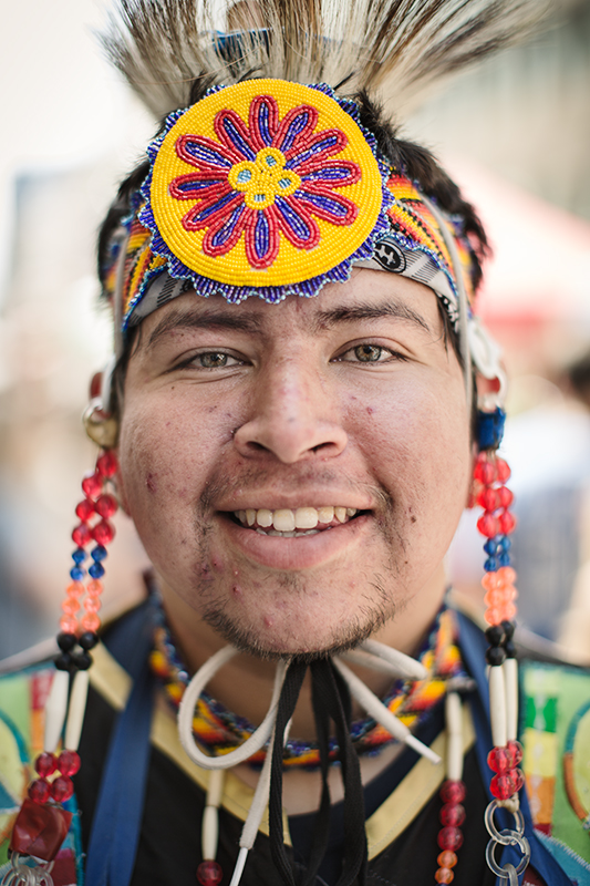 A.J. Helliot - White Fish Lake / Ojibwa Atikameksheng Anishnawbek First Nation.    «Everyone came here to enjoy the pow-wow. People come out to these pow-wow to socialize and to have fun at the gatherings. Today, I was asked to be head dancer, I'm from 4 hours drive from here, and I came.     There are actually a couple things going around here in Ottawa, like Idle No More movement. Lots of stuff is going around here, for the rights of first nations. »