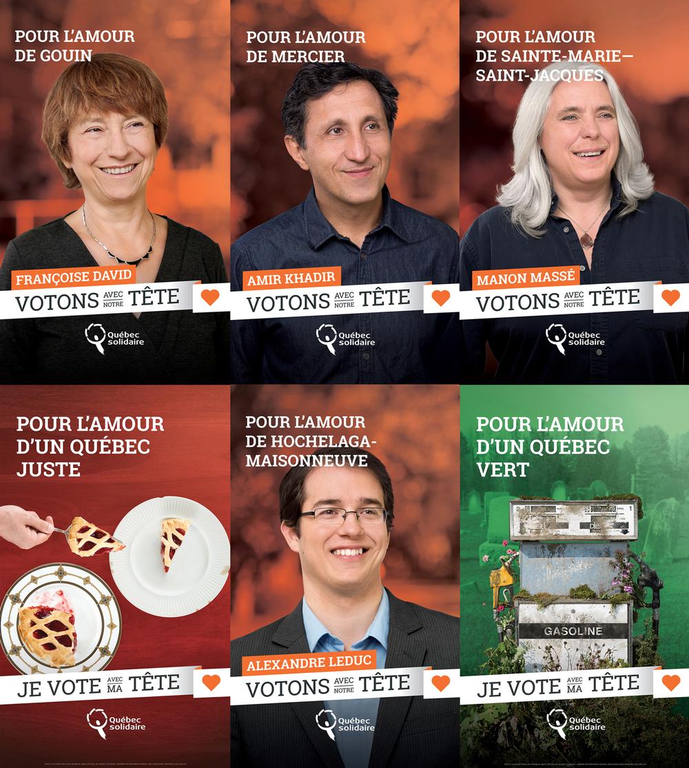 J'ai eu la chance d'être engagé par Québec solidaire pour photographier les principaux candidats de la région montréalaise, ainsi que les éléments figurant sur les trois affiches électorales thématiques.