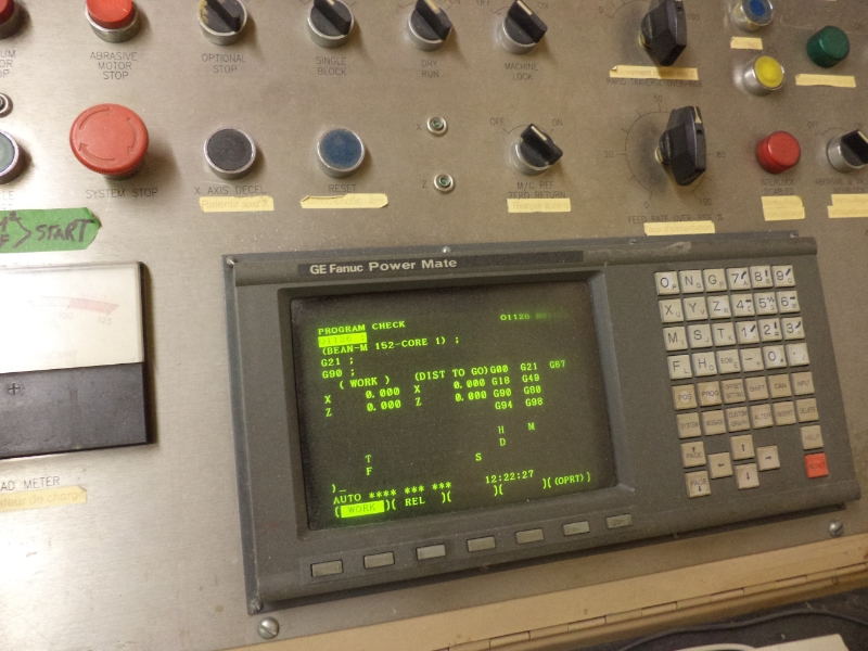 CNC profiler control panel.