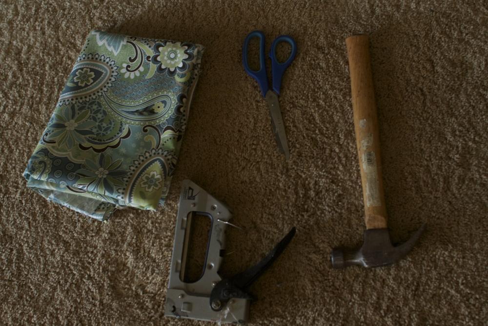 Hammer, Scissors, Staple Gun and Fabric of choice
