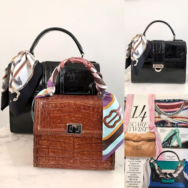 Spring time is a great time to dress up your handbags 👜 Mini Chelsea & the Chelsea🌷#mystyle #handbag #infashion #scarf #womenstyle #womensfashion #fashionbag #fashionlady #ladylike #springtime #hermesscarf