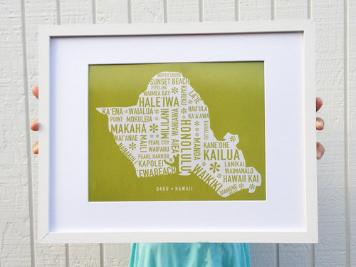 Oahu map print