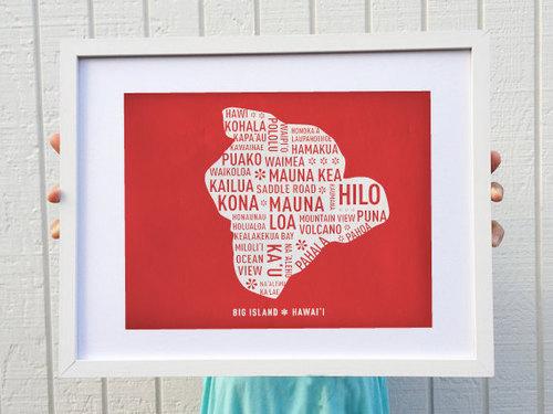 Big island map print