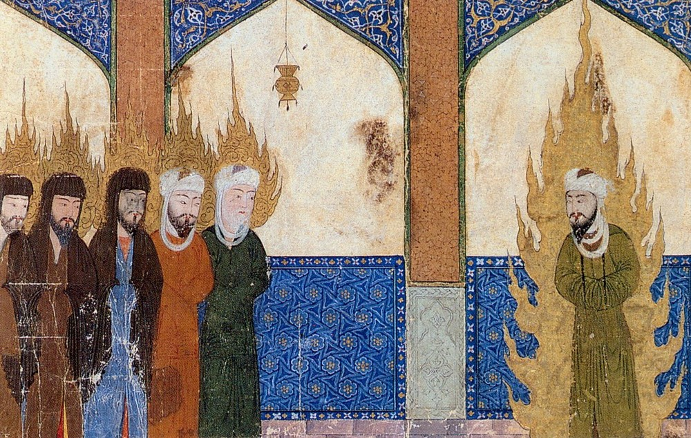 Medieval Persian manuscript depicting Muhammad leading Abraham, Moses and Jesus in prayer. SourceThe Middle Ages. An Illustrated History by Barbara Hanawalt