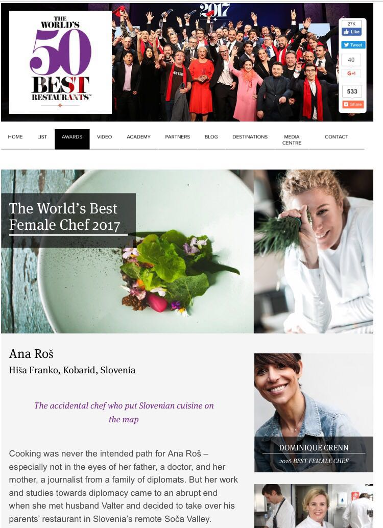 Ana Ros 50 Best Female Chef 2017